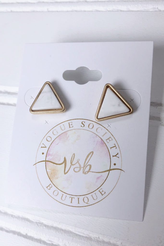 Gold & White Marble Earrings- Triangle