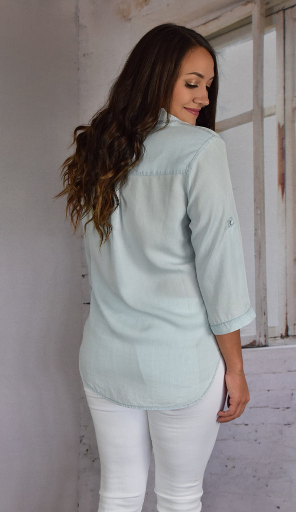 Light Chambray Pocket Top
