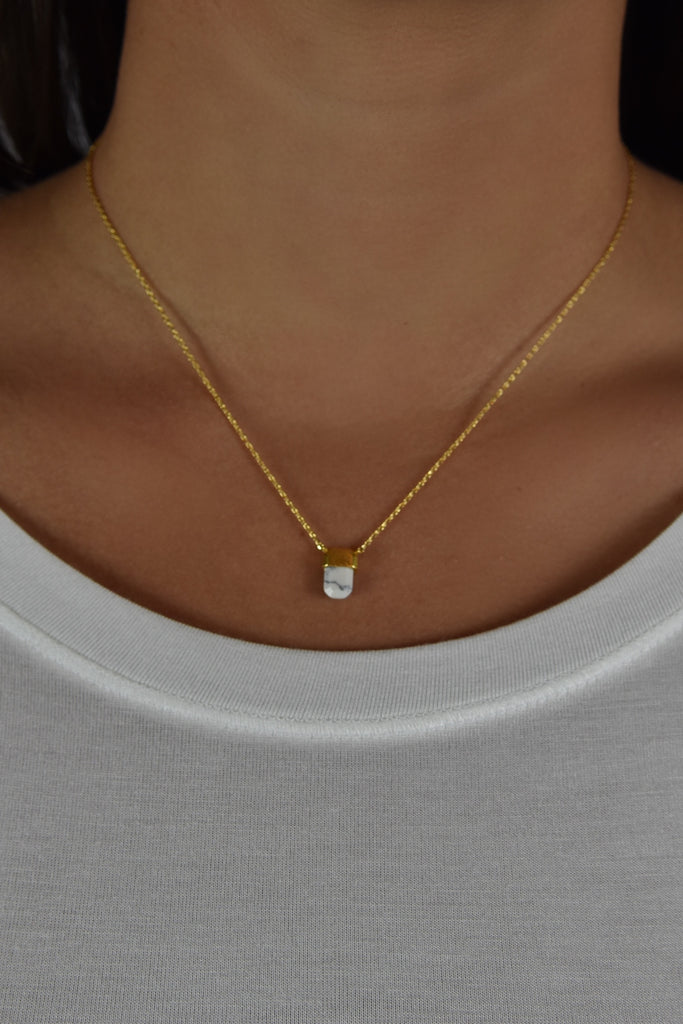 Dainty Marble Necklace- White