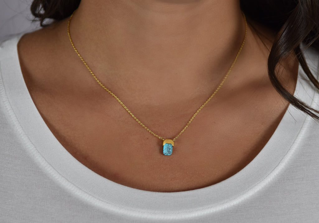 Dainty Marble Necklace- Turquoise