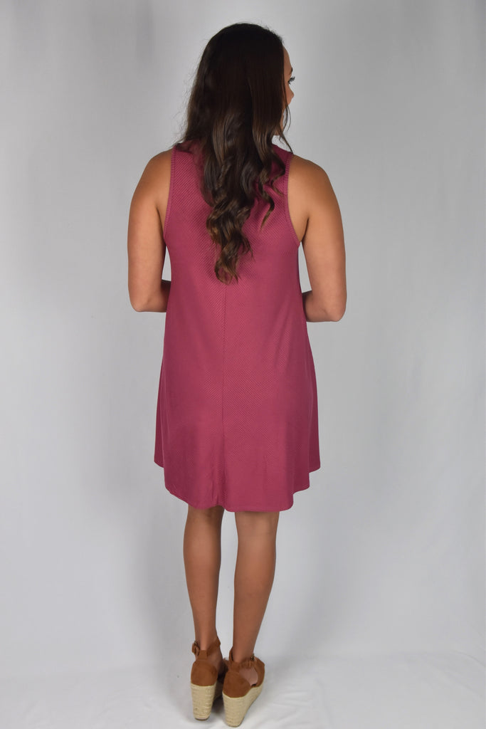 American Beauty Ribbed Dress- Red Garnet
