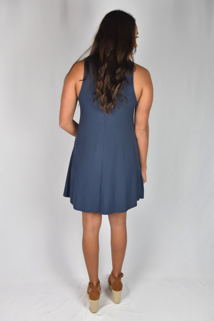 American Beauty Ribbed Dress- Midnight Navy