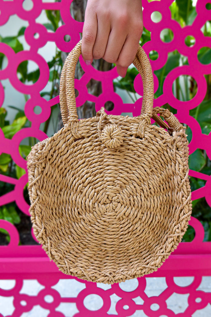 Maui Round Straw Crossbody Bag