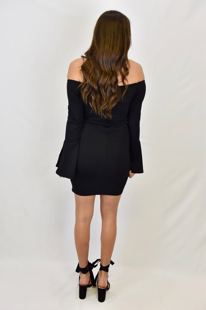 Alluring Holiday Black Off The Shoulder Dress