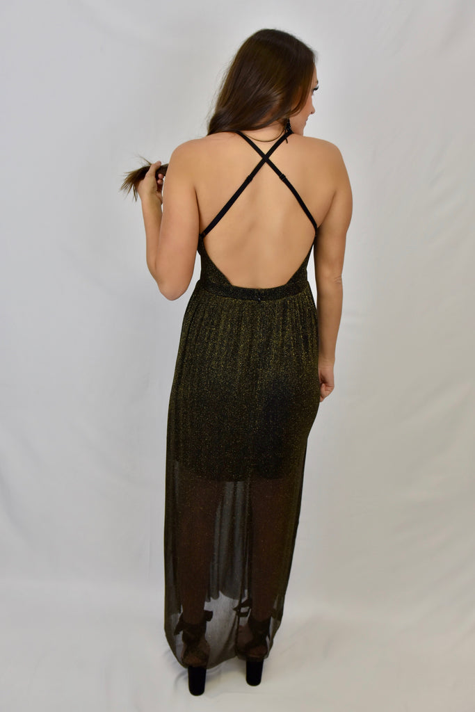 Midnight Holiday Black & Gold Sparkle Dress