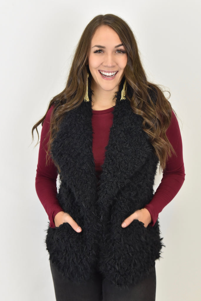 Black Faux Fur Holiday Vest
