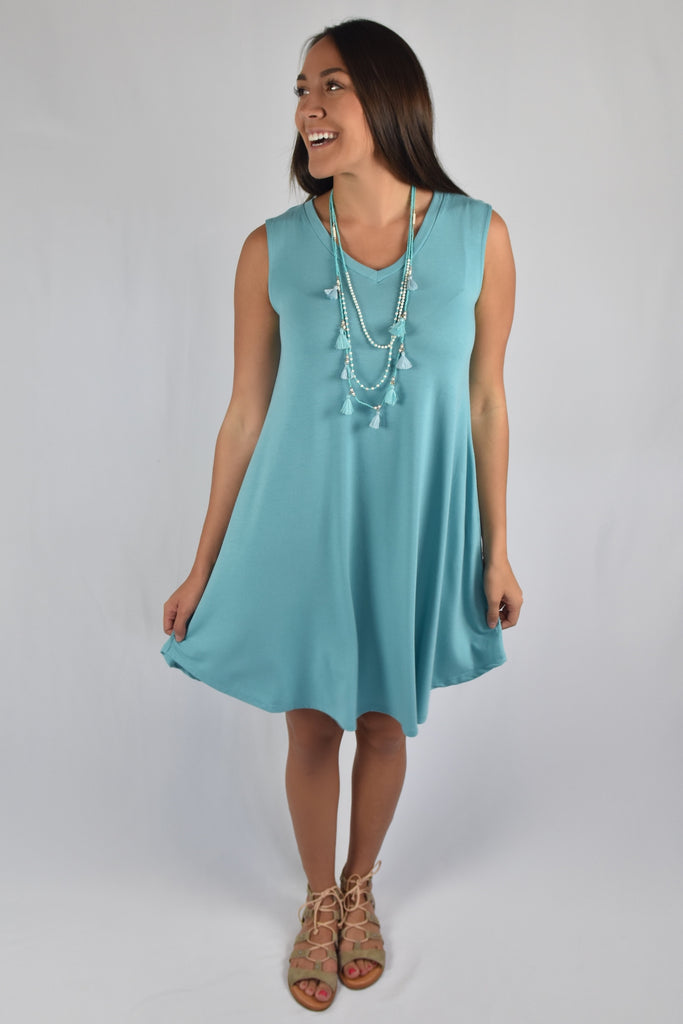 Love So Soft Tank Dress with Pockets- Mint Blue
