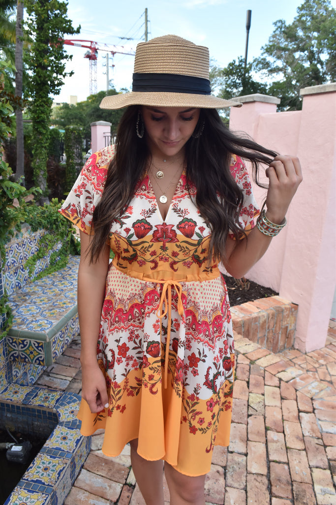Scarf Print Mimosa Flowy Dress