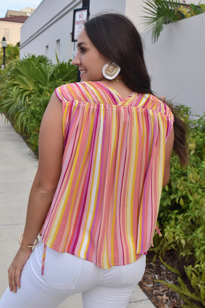 Coral Striped Scrunchy Top (Wear 2 Ways)