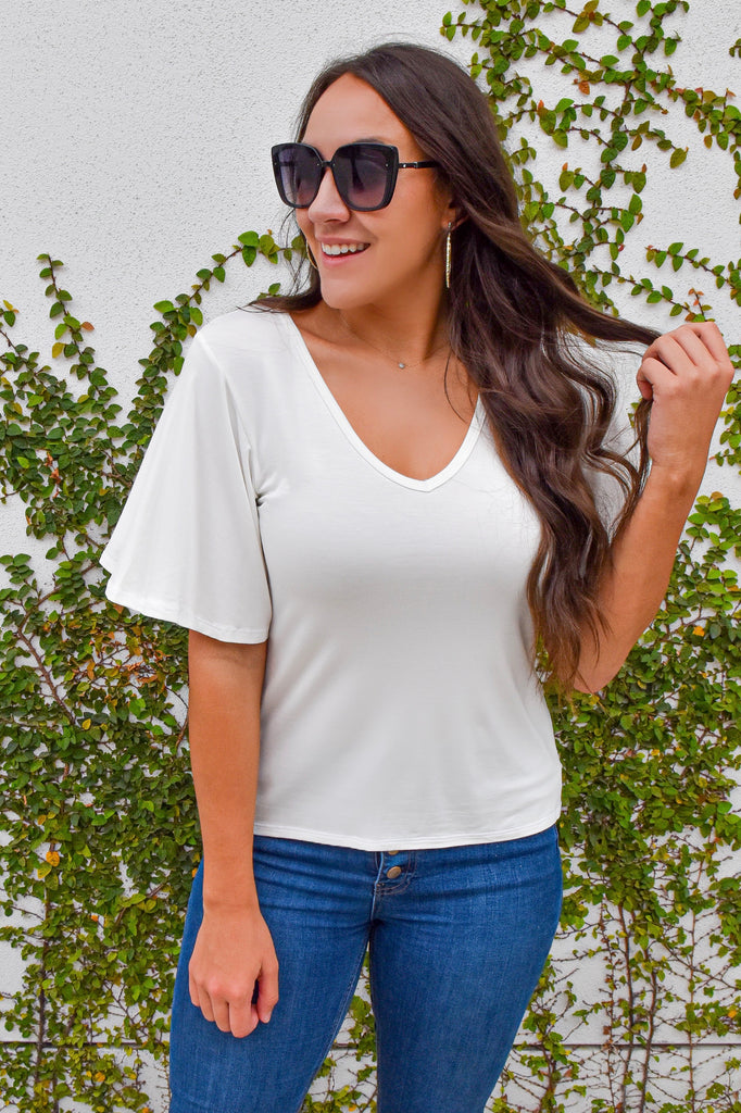 Flutter Sleeve White Top