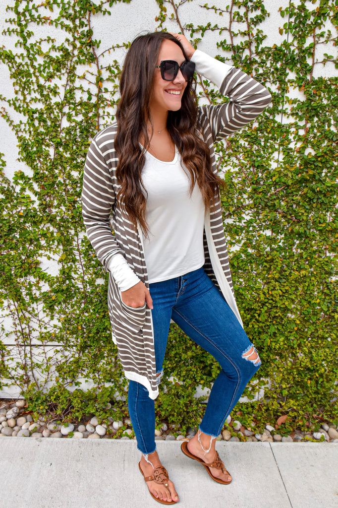 Fall Weekend Cozy Striped Cardigan- Olive