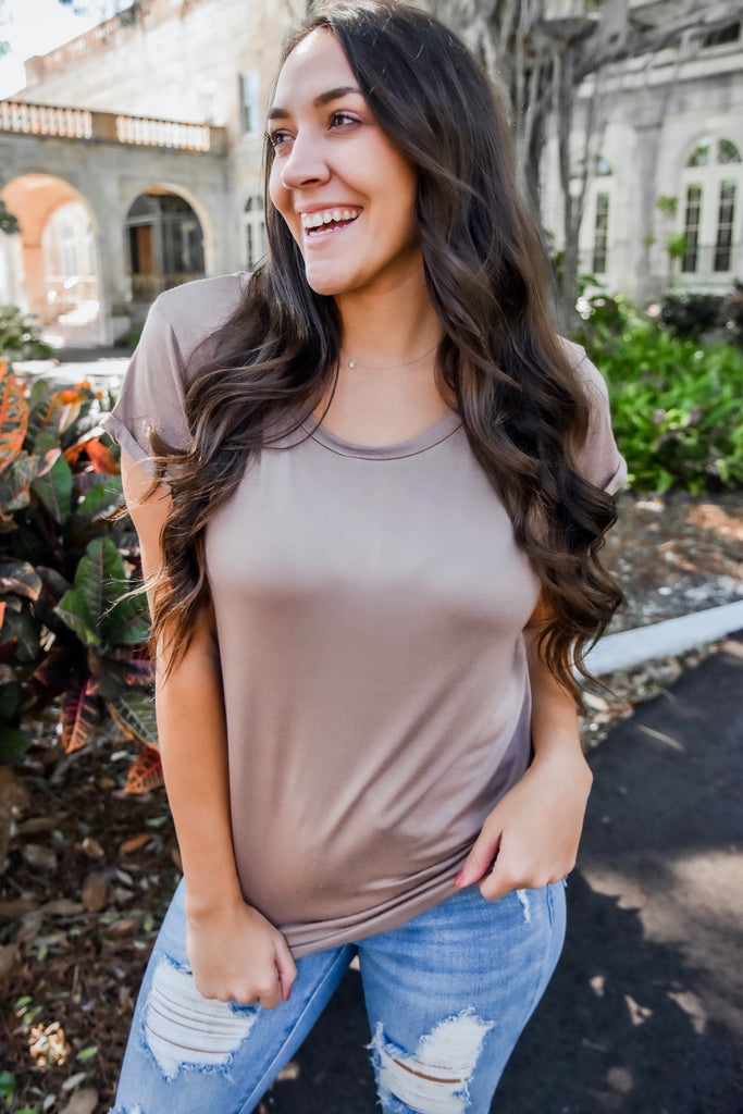 Layer Me Up Round Neck Tee- Mocha