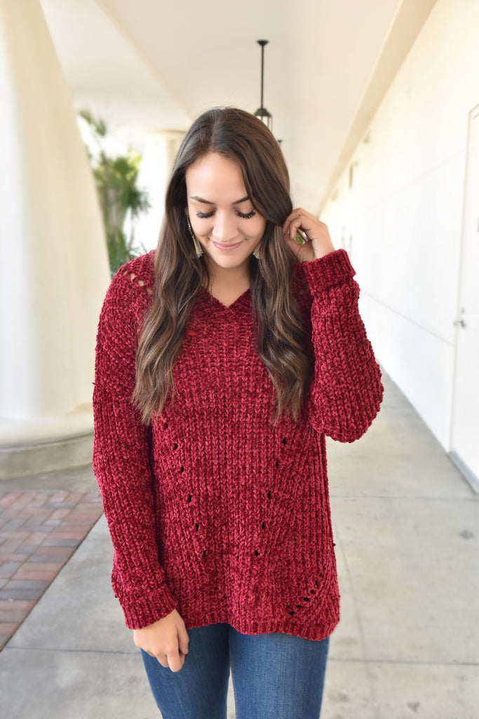 Holly & Harmony Burgundy Sweater