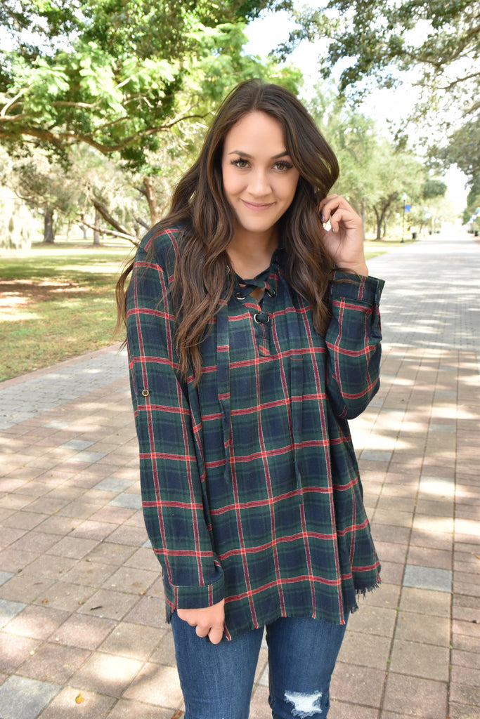 Christmas Morning Lace-Up Flannel