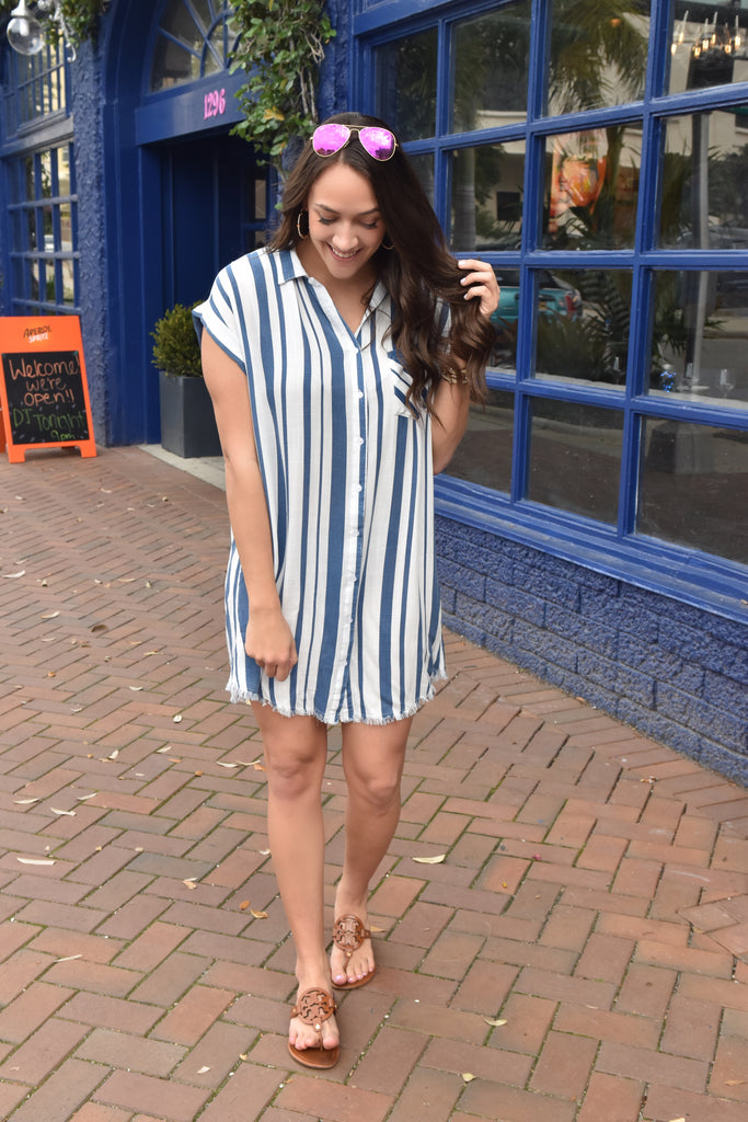 The Girlfriend Striped Dress- Blue/ White