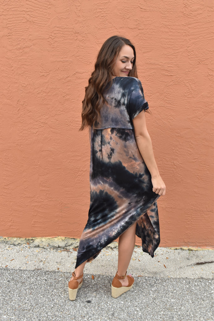 Dyed & Tied Maxi Dress- Navy/Rust