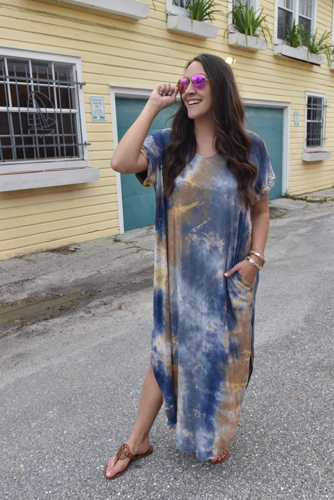 Dyed & Tied Maxi Dress- Blue/Yellow
