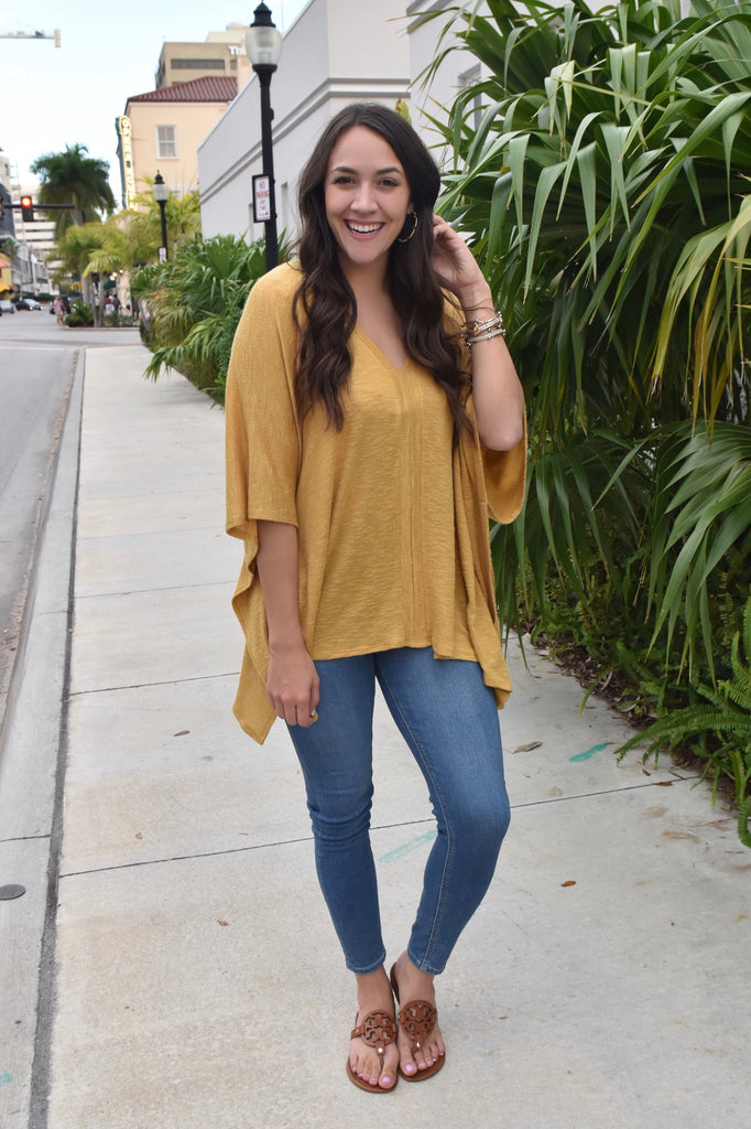 Chase Me Down Mustard Oversized Top