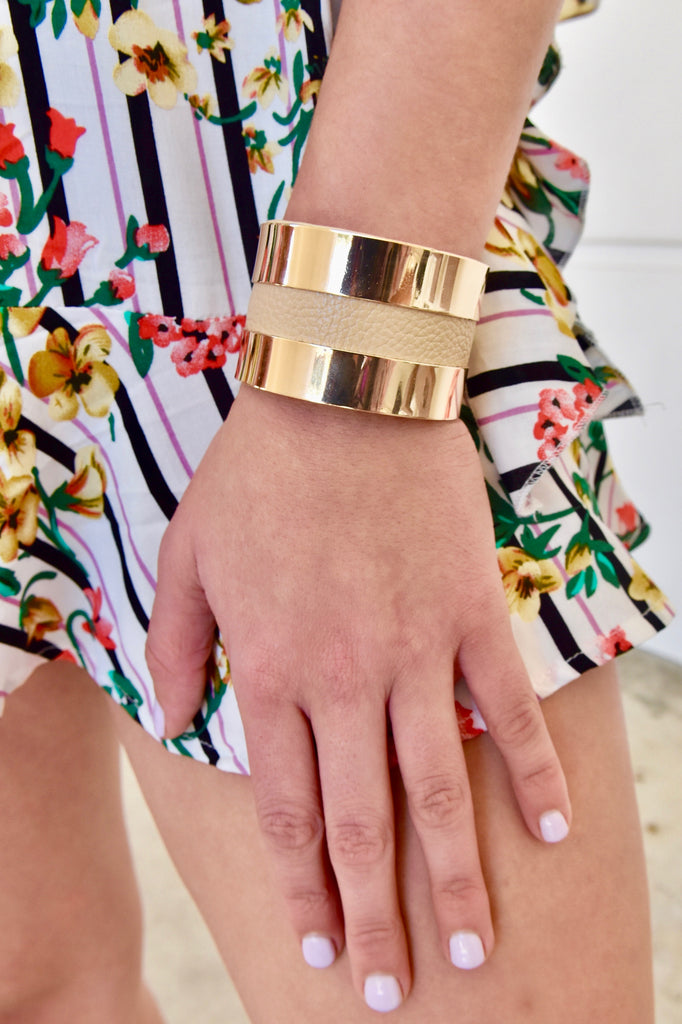 Gold & Tan Faux Leather Cuff