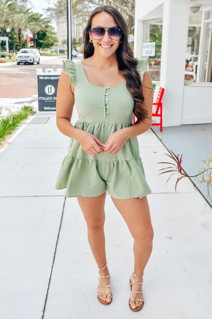 Meant To Be Flowy Romper- Sage - Vogue Society