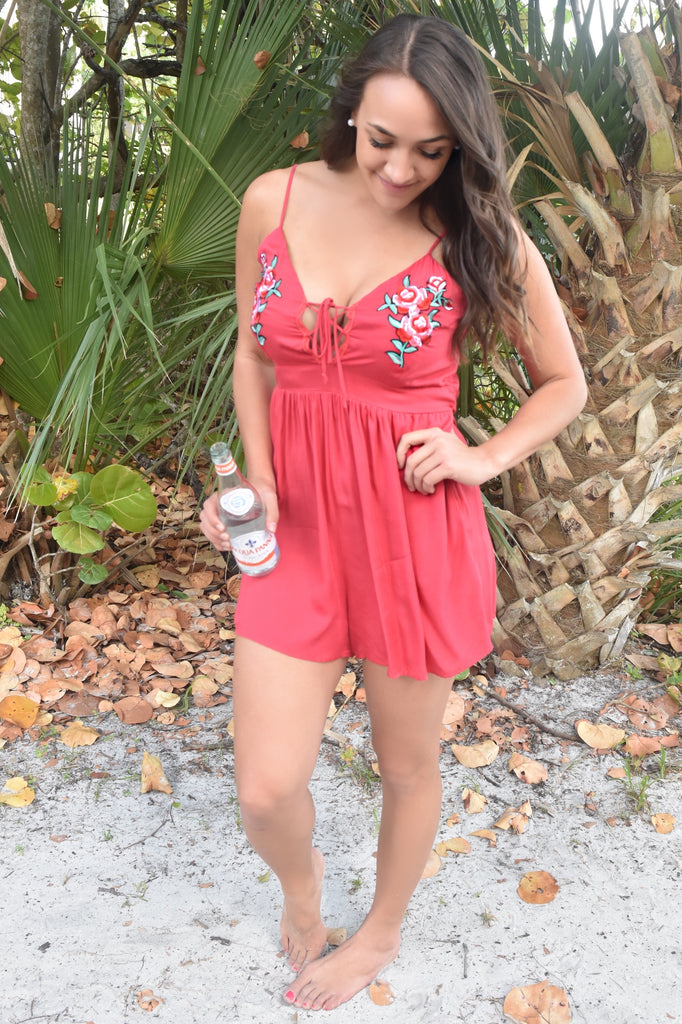 Red Roses Patch Romper