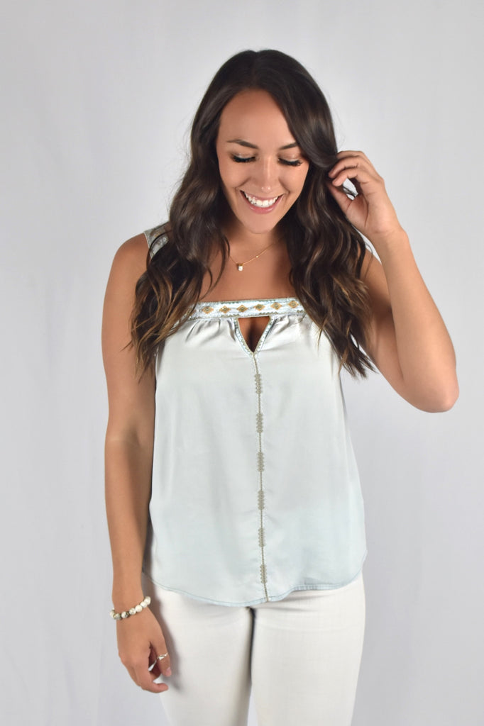Cream Blue Tribe Tank