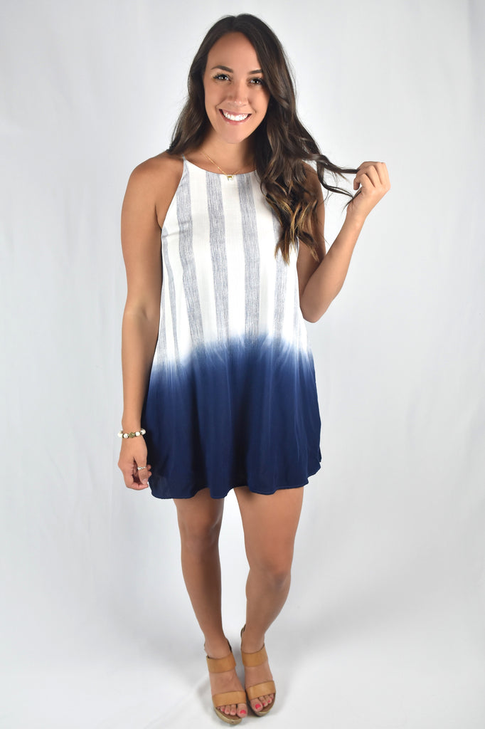 Striped Waterfalls Tank Dress