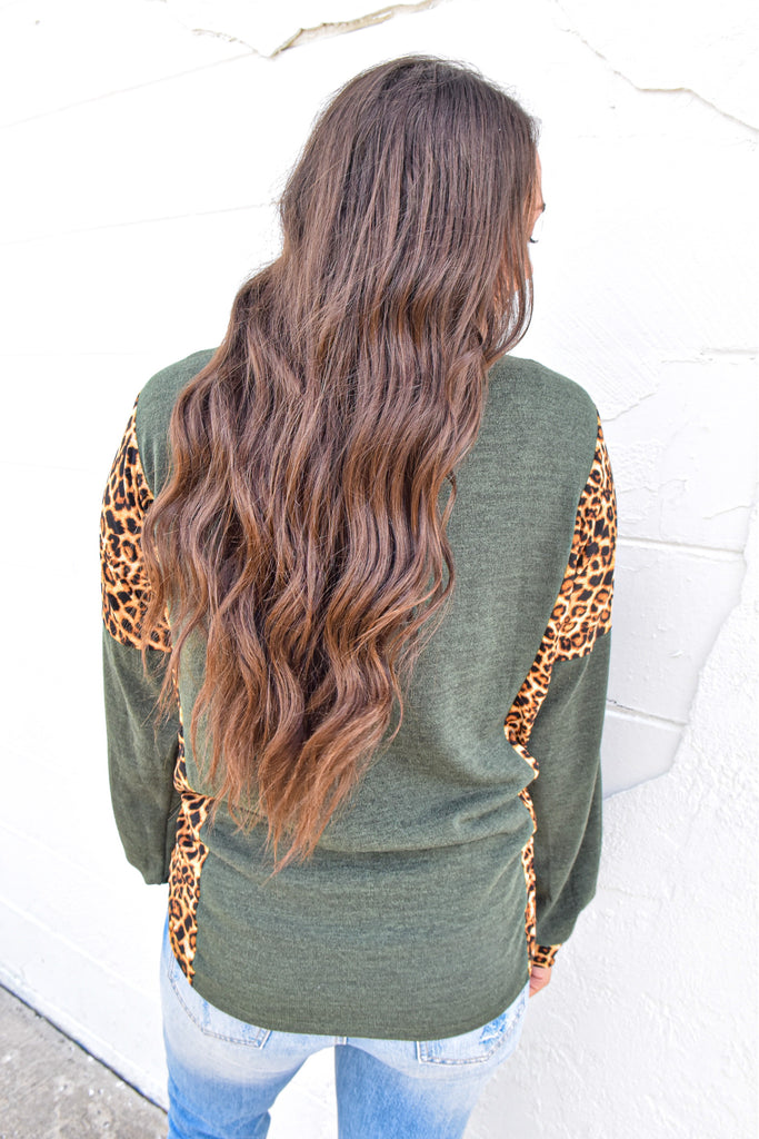 Olive Leopard Cozy Top