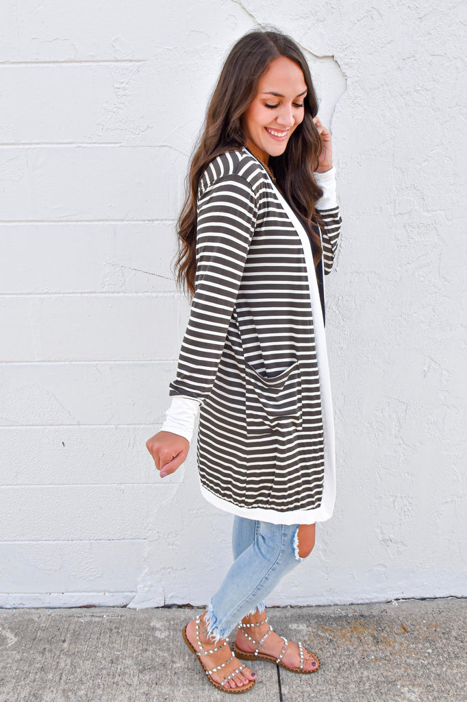 Fall Weekend Cozy Striped Cardigan- Dark Olive