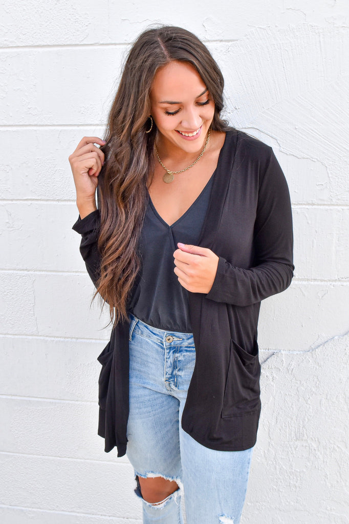 The Boyfriend Cardigan - Black