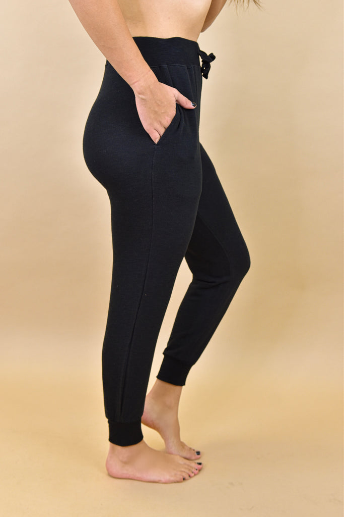 Stretchy Ribbed Joggers- Black