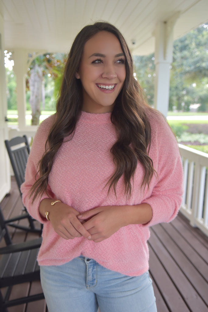 The Casual Fuzzy Sweater- Pink