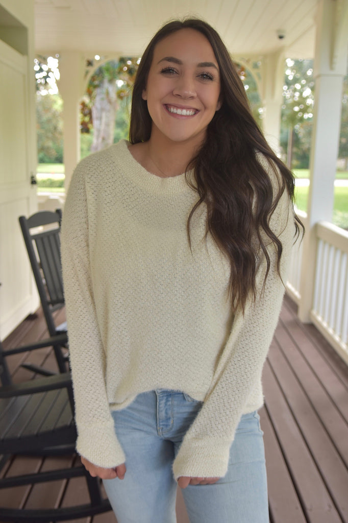 The Casual Fuzzy Sweater- Off White