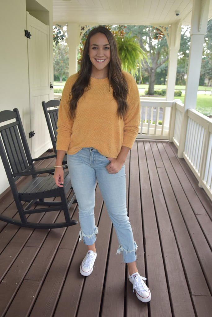 The Casual Fuzzy Sweater- Mustard