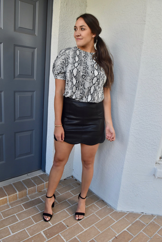 Black Leather Scallop Skirt
