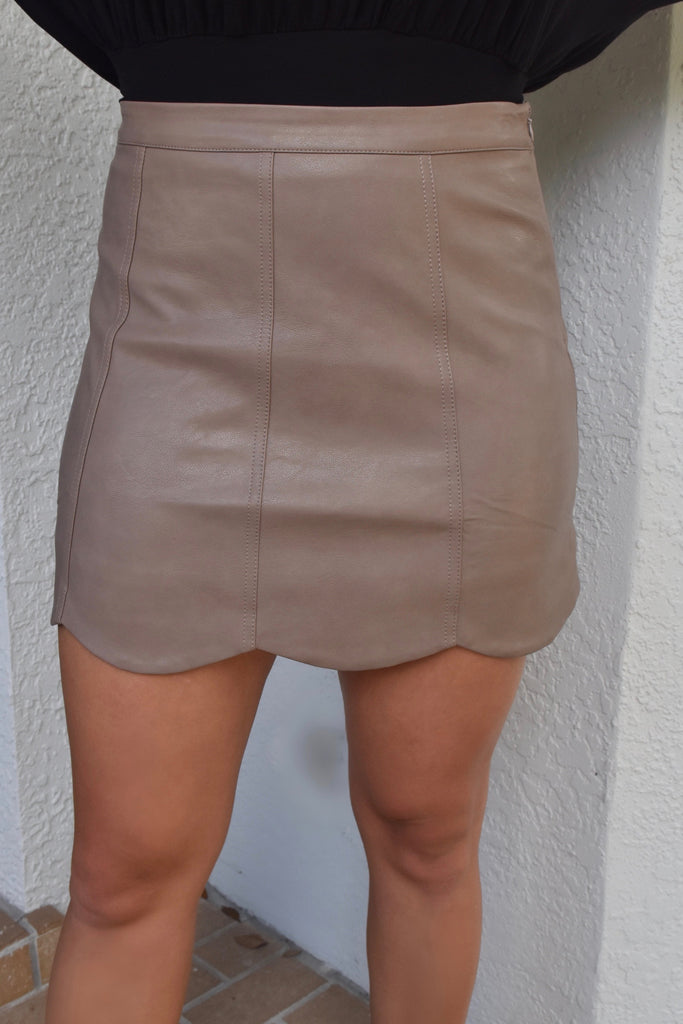 Mocha Leather Scallop Skirt