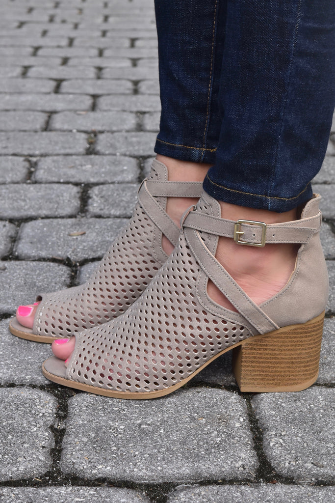 Laura Open Toe Booties- Taupe
