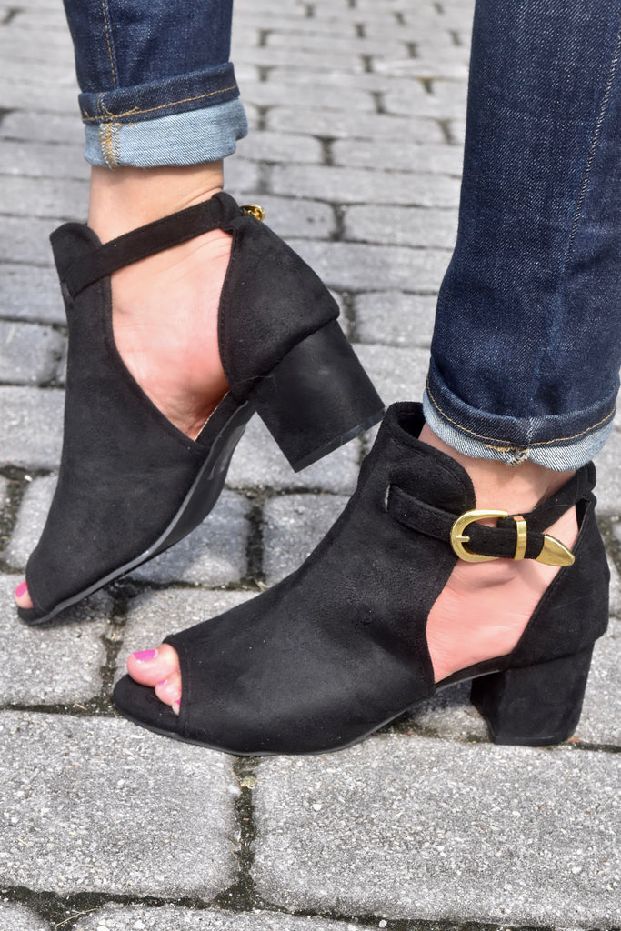 Gold Buckle Peep Toe Black Booties