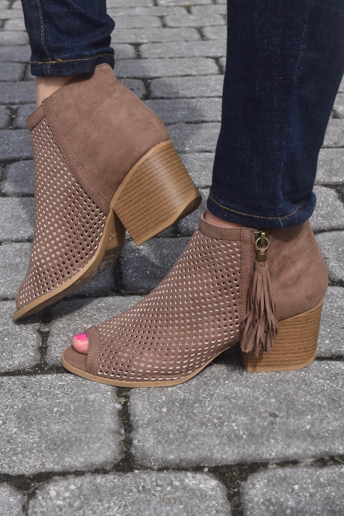 Nutmeg Tassel Open Toe Booties