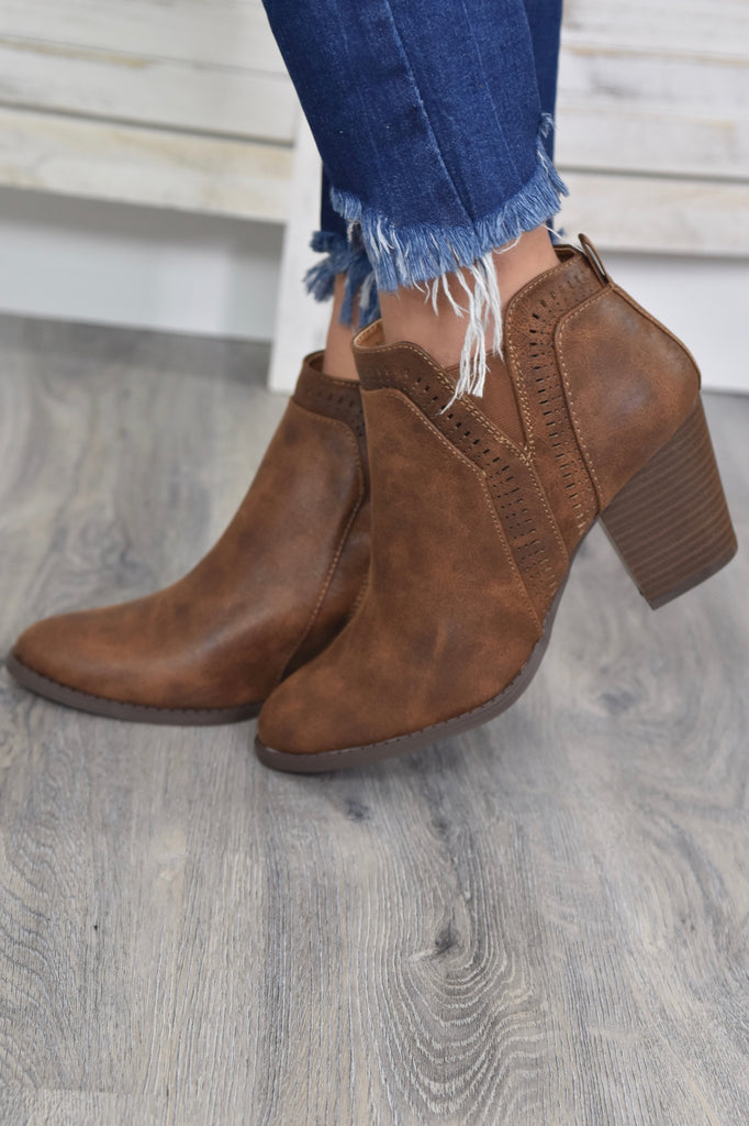 The October Booties- Dark Cognac