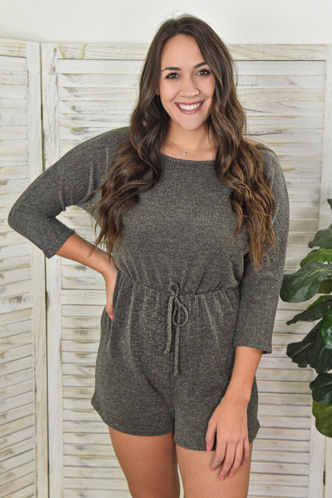 Holiday Away Khaki Green Romper