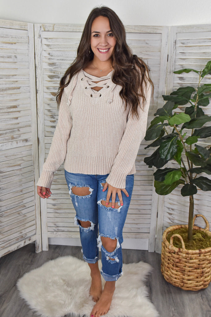 Chilly Chenille Lace-Up Sweater- Cream