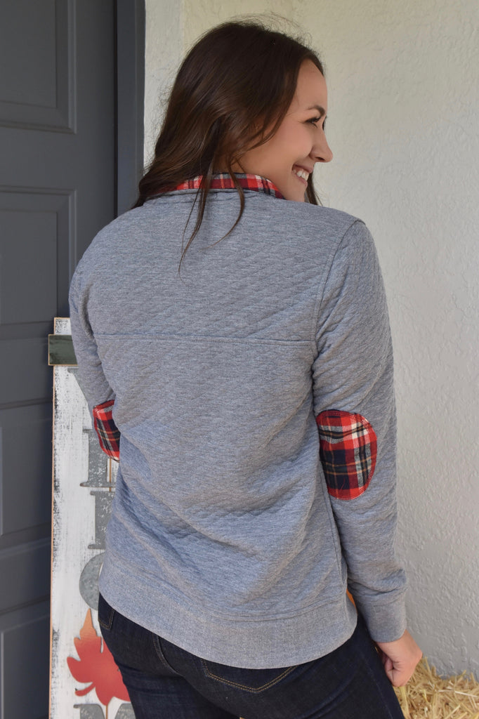Classy Autumn Elbow Patch Pullover