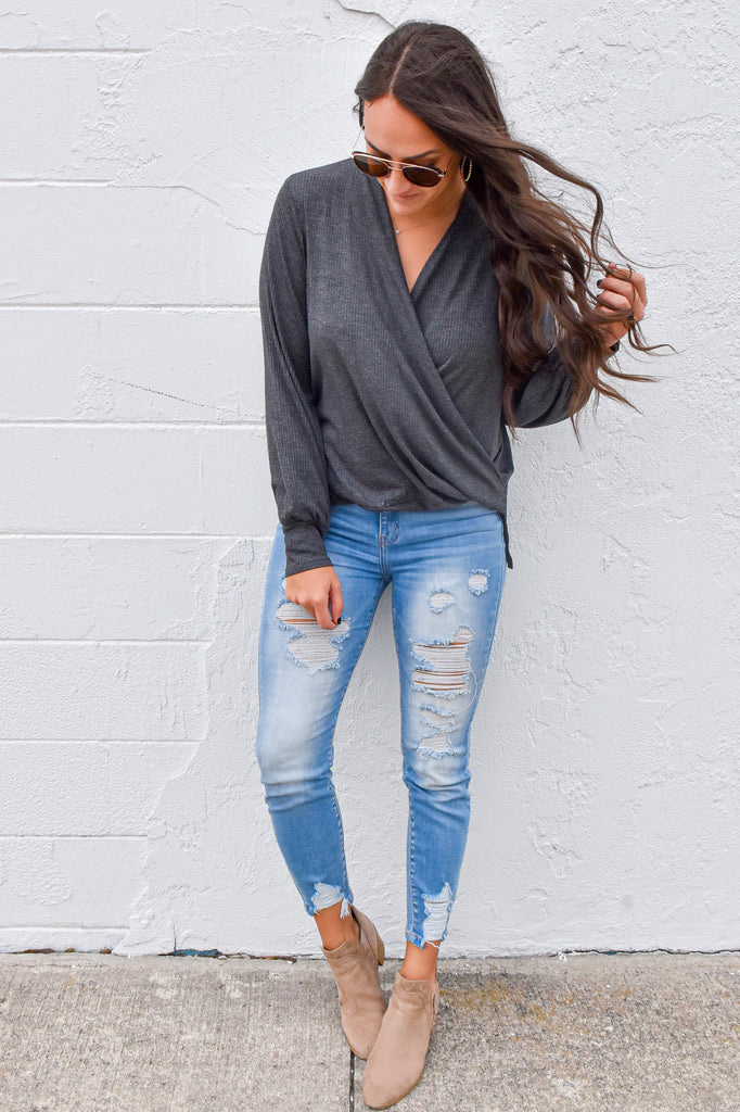 The Ribbed Crossover Top- Charcoal