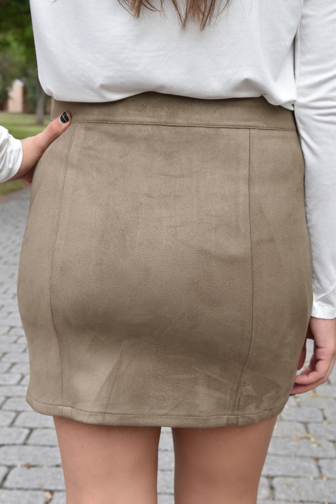 Suede Zipper Skirt- Olive