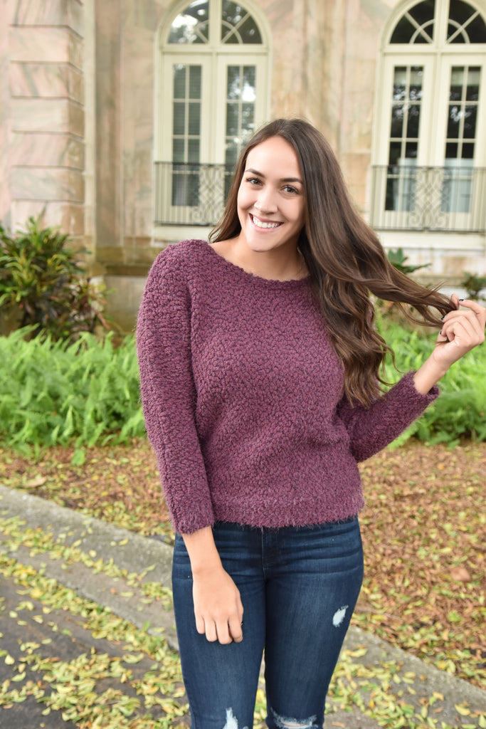 Holiday Joy Plum Sweater