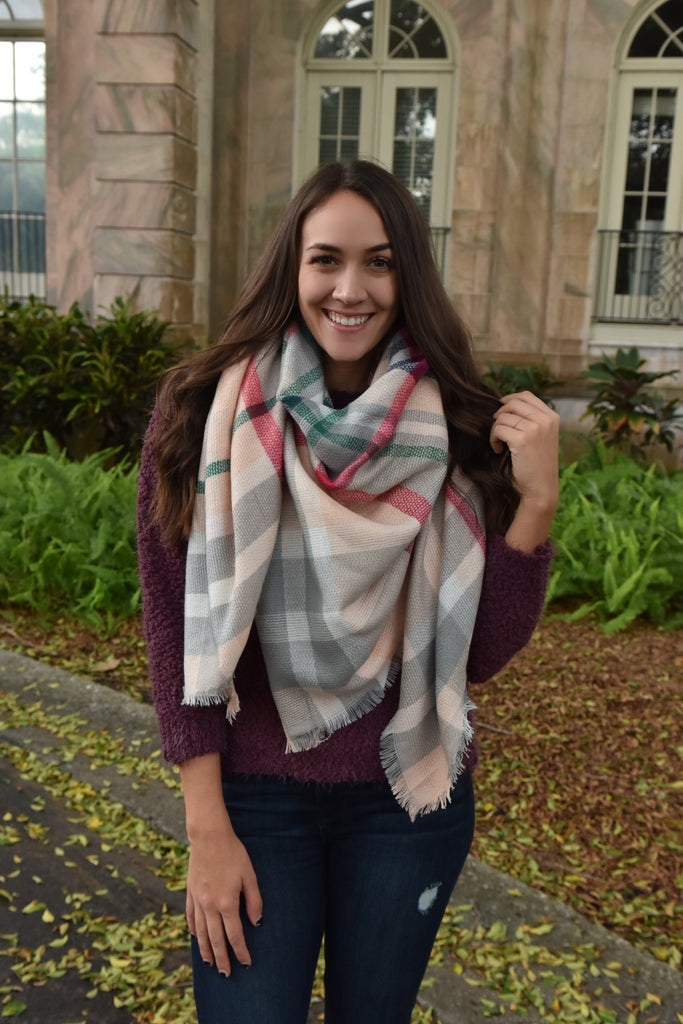 Light Pink Soft Snow Blanket Scarf