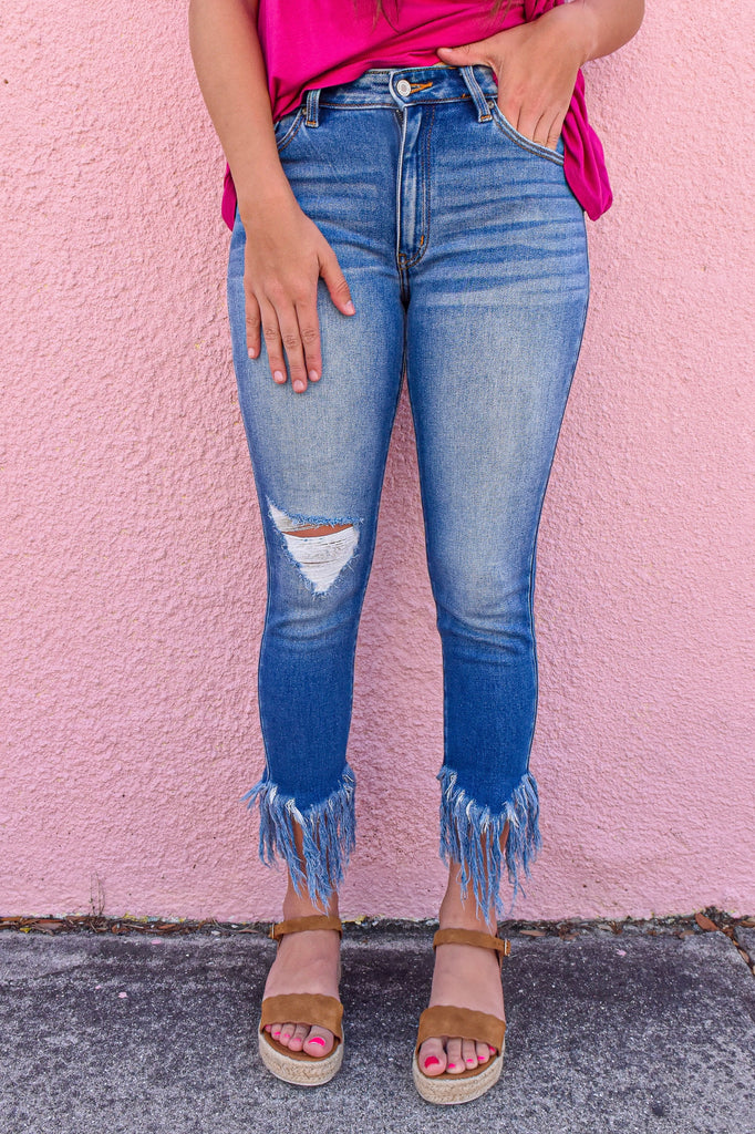 Gemma Frayed Ankle Jean - Vogue Society