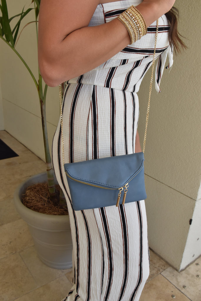 Trendy Chic Crossbody Clutch- Blue
