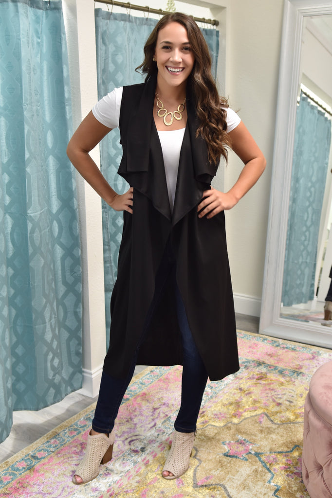 Simply Perfect Belted Long Vest- Black